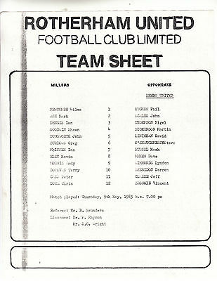 Teamsheet - Rotherham United Reserves v Leeds United Reserves 1984/5
