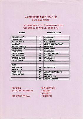Teamsheet - Rotherham United Reserves v Sheffield United Reserves 2002/3