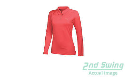 New Womens Puma Long Sleeve Luxury Golf Polo Small Cayenne 568339 MSRP $65.00