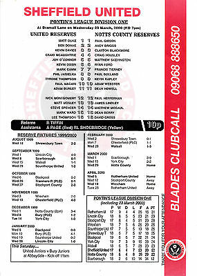 Teamsheet - Sheffield United Reserves v Notts County Reserves 1999/2000