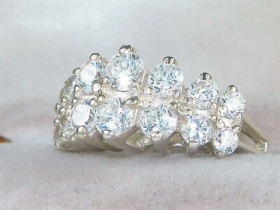 Sterling Silver .925 CZ-1.78 tcw Double Row Band Wedding Anniversary Ring-Sz 7