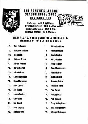 Teamsheet - Walsall Reserves v Sheffield United Reserves 1999/2000