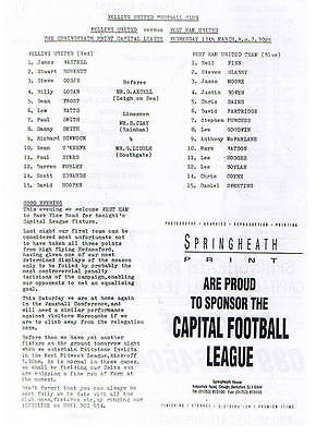 Teamsheet - Welling United Res v West Ham United Res (Undated) Capital League