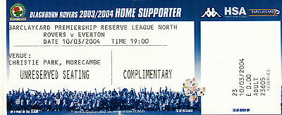 Ticket - Blackburn Rovers Reserves v Everton Reserves 10.03.04