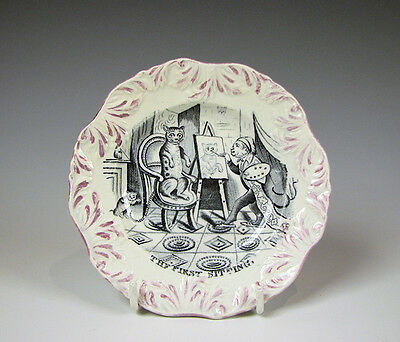 Antique Pearlware Glaze English Pottery Childs Plate w/ Cat and Monkey Painting