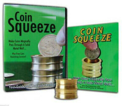 PRO Magic Coin Squeeze Deluxe EXAMINABLE Solid Brass PENETRATION - WATCH DEMO!