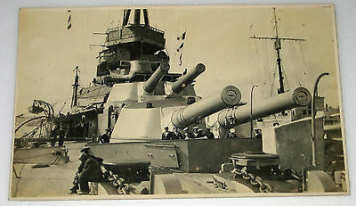 RP Postcard LARGE BATTLESHIP GUNS Royal Navy HMS