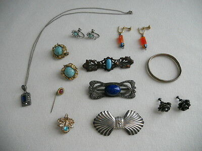 VINTAGE ART DECO STERLING TURQUOISE LAPIS JEWELRY LOT 12pcs BAR BROOCHES EARRING