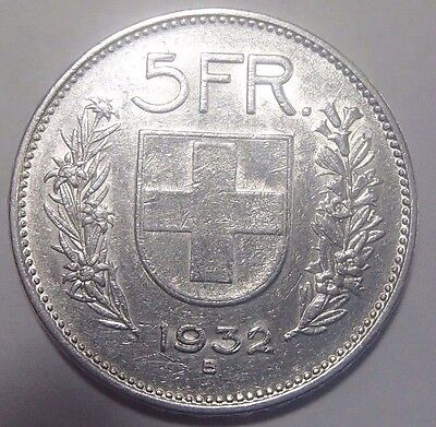 1932-B Switzerland Five 5 Francs Silver Coin Km-40 Nice Circulated No Problems