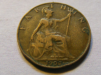 1907 Edward VII Farthing Coin  - Nice Condition
