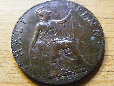1922 George V Half Penny Coin - 25mm Dia  - Nice Condition