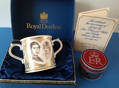 ROYAL DOULTON- MARRIAGE of CHARLES & DIANA LOVING CUP + SILVER JUBILEE MATCH TIN