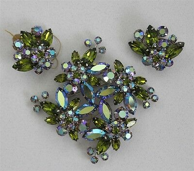 Vintage SHERMAN Mint Teal Blue Stacked Rhinestone Flower Brooch & Clip Earrings