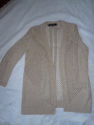 Soft Beige Cream Size 8 Open Lacy Cardigan Evening Casual