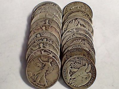 Roll 1928-S Liberty Walking Silver Half Dollars 20 Coins Solid Date Roll 1928-S