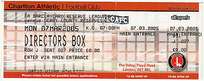 Ticket - Charlton Athletic Reserves v Derby County Reserves 07.03.05