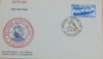 India. 1965 Fdc Maritime Day With Special Cancel