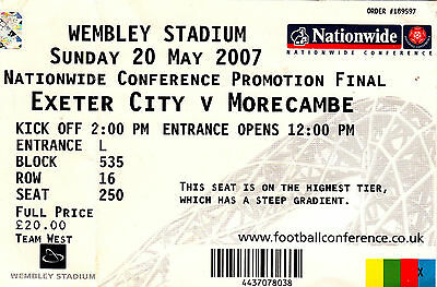Ticket - Exeter City v Morecambe 20.05.07 Play-Off Final @ Wembley
