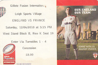 Ticket - England v France 12.06.2010 @ Leigh Sports Village