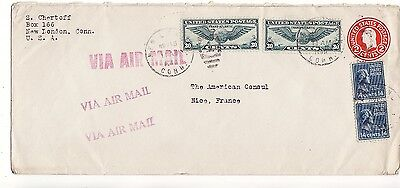 US to France NEW LONDON CT 14c x2 Prexies 30c x2 Airs 2c stny HOLOCAUST 1940