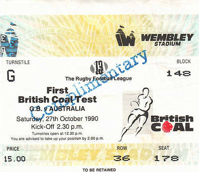 Ticket - Great Britain v Australia 27.10.1990 First Test @ Wembley