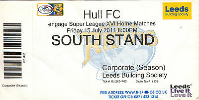 Ticket - Leeds Rhinos v Hull FC 15.07.2011