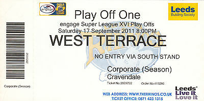 Ticket - Leeds Rhinos v Hull FC 17.09.2011 Play Off One