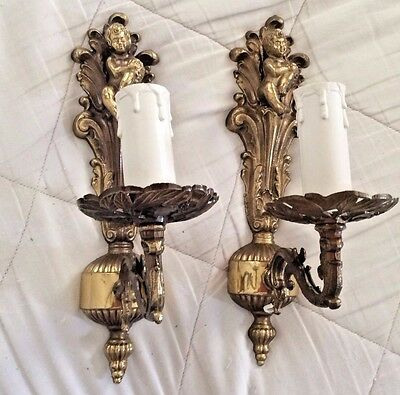 Antique vintage French pair brass sconces angels cherubs putti light fixtures