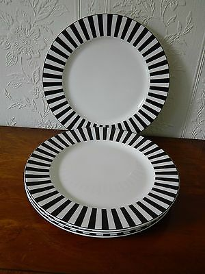 4   Marks & Spencer 'ruby' Black And White Salad  Plates