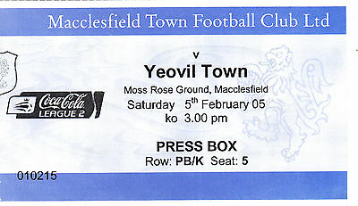 Ticket - Macclesfield Town v Yeovil Town 05.02.05