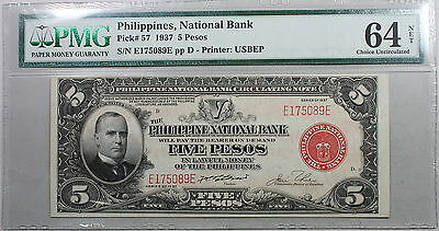 1937 PMG 64 PHILIPPINES CH UNC National Bank 5 pesos Note Pick 57 (16032601C)