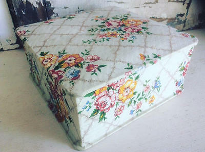 ~*Pretty Vintage French Pink Rose Cluster Fabric Covered Storage Box*~