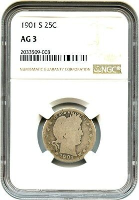 1901-S 25c NGC AG-03 - Affordable Famous Key Date - Barber Quarter