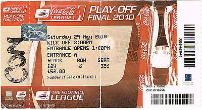 Ticket - Millwall v Swindon Town 29.05.10 Play-Off Final