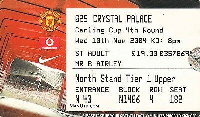 Ticket - Manchester United v Crystal Palace 10.11.04 League Cup