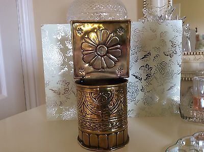 Antique brass wall hanging container spill pot Arts And Crafts