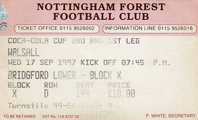 Ticket - Nottingham Forest v Walsall 17.09.97 League Cup