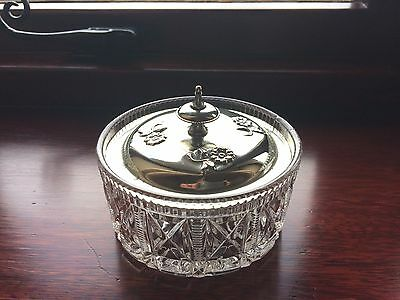 Victorian Plated Silver Lid  With Cut Glass Bowl  Butter Dish