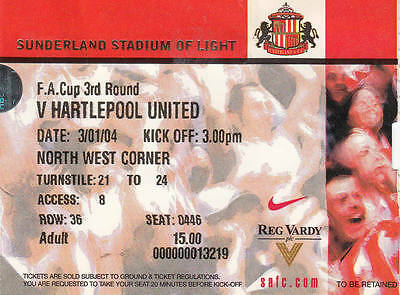 Ticket - Sunderland v Hartlepool United 03.01.04 FA Cup