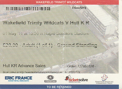 Ticket - Wakefield Trinity Wildcats v Hull Kingston Rovers 01.05.2011