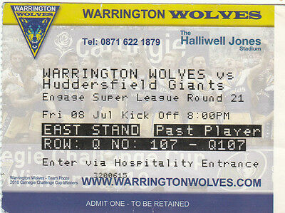 Ticket - Warrington Wolves v Huddersfield Giants 08.07.2011