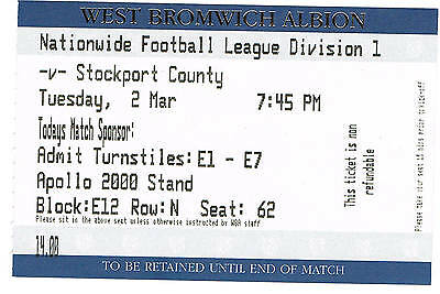 Ticket - West Bromwich Albion v Stockport County 02.03.99