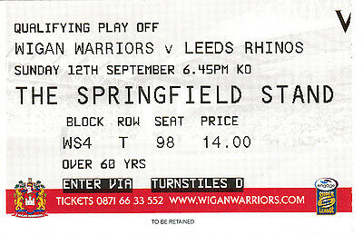 Ticket - Wigan Warriors v Leeds Rhinos 12.09.2010 Qualifying Play Off