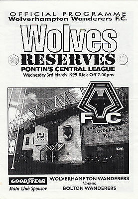 Wolverhampton Wanderers Reserves v Bolton Wanderers Reserves 1998/9