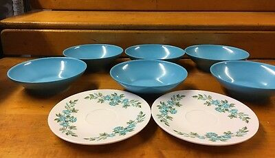 Lot Of Six Vintage Melamine Bowls Blue And Two Saucers - Floral