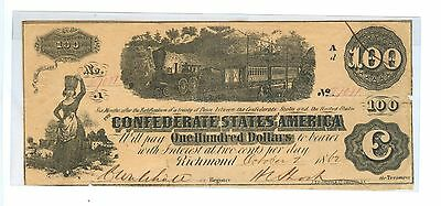 1862 One Hundred Dollars Confederate States Of America Richmond,va #57081- Cir