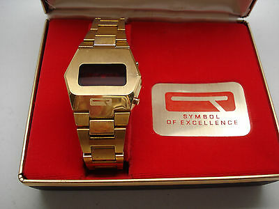 Quantum Time Corporation Red LED Vintage Wrist Watch in Orig Box for Repair