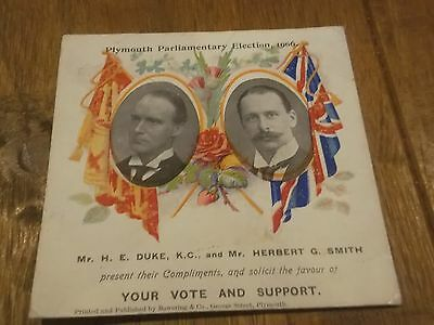 1906 General Election Flyer For Unionist Candidates In Plymouth Devon