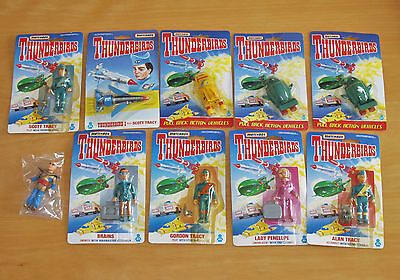 Ten Matchbox Thunderbirds Figures & Vehicles 1 & 4, Virgil, Penelope, Brains etc
