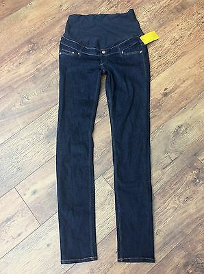 ladies blue over the bump skinny maternity jeans h & m 14 bnwt